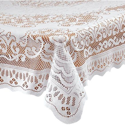 White Fleur de Lis Lace Tablecloth-344547