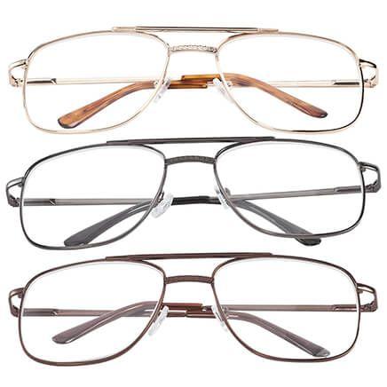 Spring Hinge Pilot Reading Glasses - 3 Pack-344795
