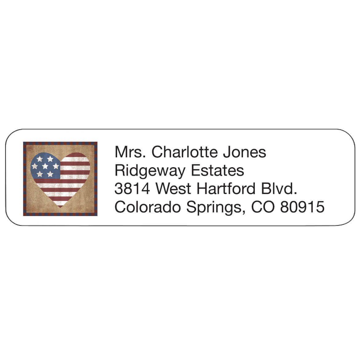 Patriotic Heart Address Labels-347435