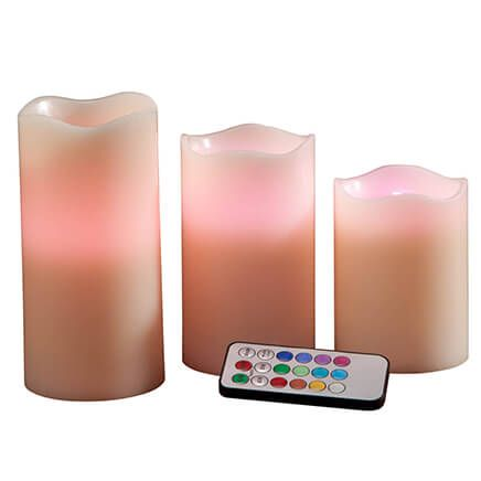 Color Changing LED Candles, Set of 3 with Remote-351496