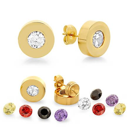 Interchangeable CZ Stud Earrings-354156