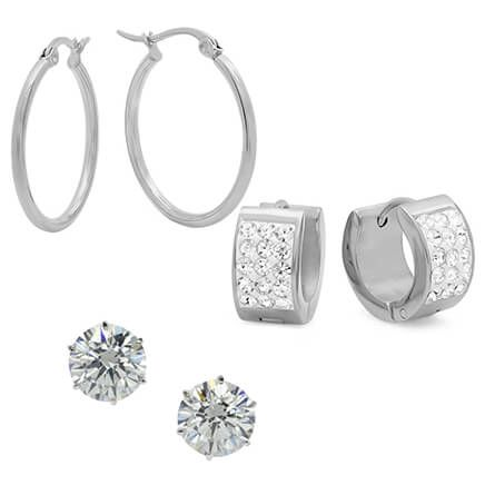 Set of 3 CZ Earrings-354167
