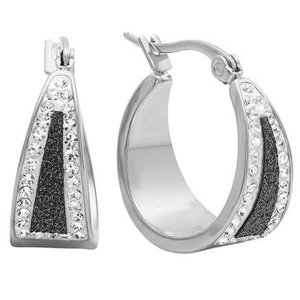 Black Diamond Dust Hoop Earrings-354201