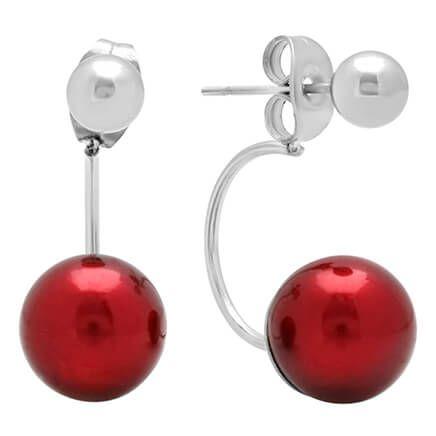 Red Faux Pearl Ear Jacket Earrings-355425
