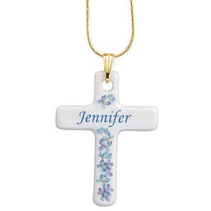 Personalized Porcelain Cross Pendant-355896