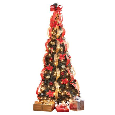 7-Ft. Pull-Up Fully Decorated Pre-Lit Poinsettia Tree by Holiday Peak™-357693