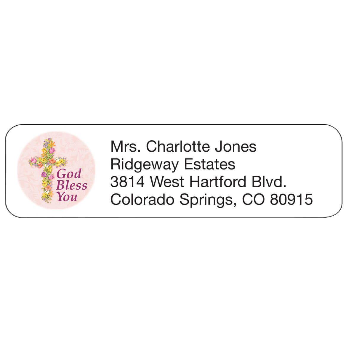 Personal Design Label Floral Cross-358979