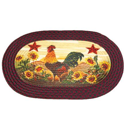 Rooster in Sunflowers Braided Rug by OakRidge™-359242
