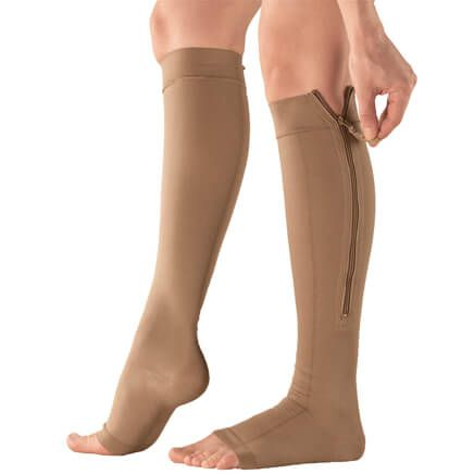 Silver Steps™ EZ Zip Open Toe Compression Socks, 20-30 mmHg-360011