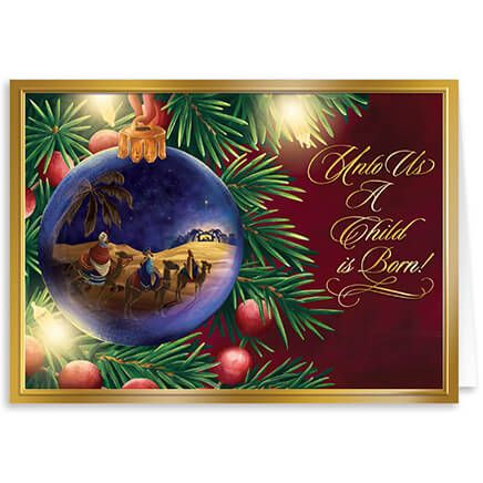 Personalized Nativity Ornament Christmas Card Set of 20-360225