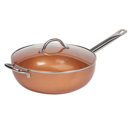 "Copper 12"" Wok with Lid-361136"