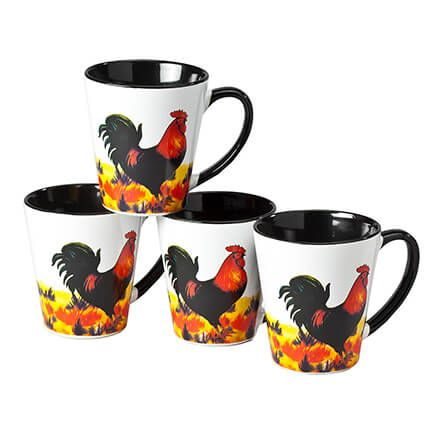8 oz. Rooster Mugs, set of 4-361968