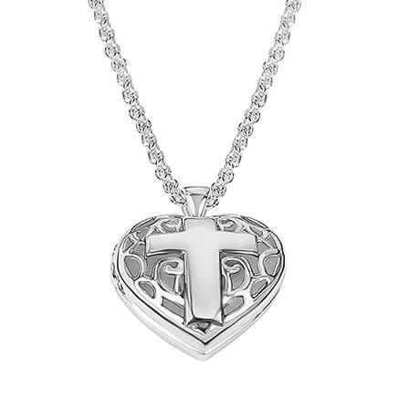 Personalized Filigree Heart Locket with Cross-362400