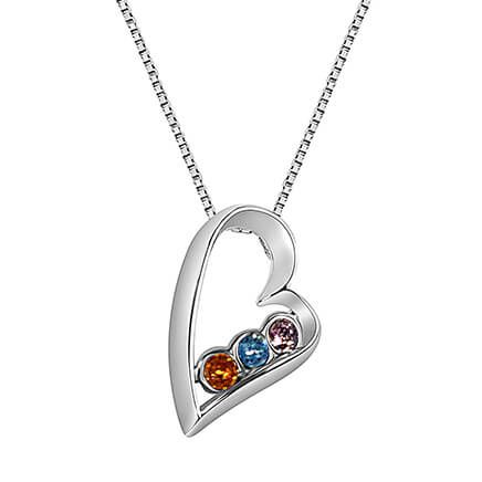 Sterling Silver Open Heart Birthstone Pendant Necklace-362417