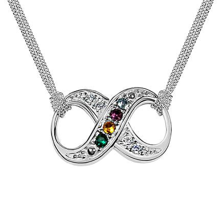 Sterling Silver Infinity Birthstone Necklace-362469