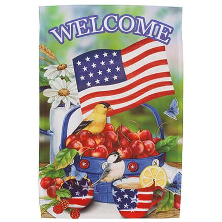 Welcome Americana Cherries and Birds Garden Flag-362560