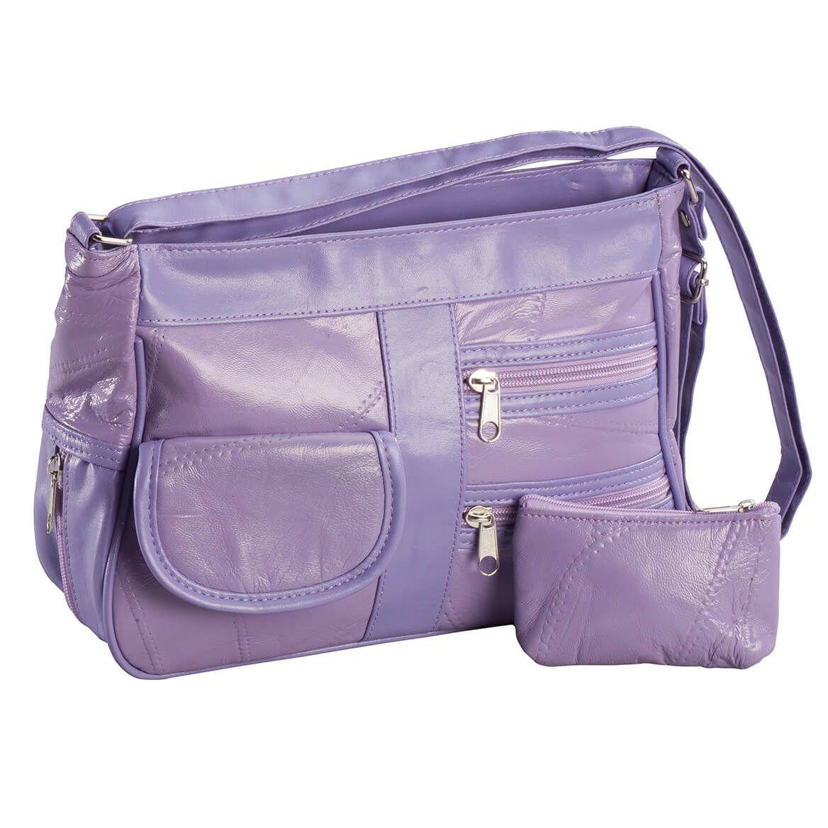 Lamb Leather Handbag, 2-Piece Set-363214