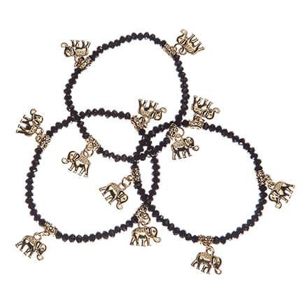 Gold Elephant Stretch Bracelet, Set of 3-363499