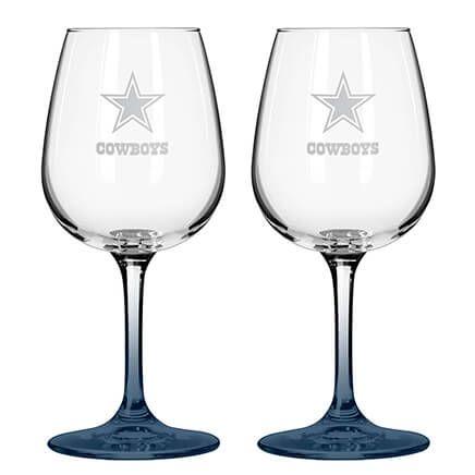 NFL Set/2 Etched Wine Glasses-363773