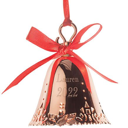 Personalized Rose Gold Tone Bell Ornament-363777