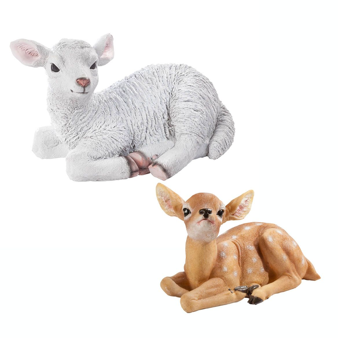 Fawn and Lamb Resin Statue Set-363870