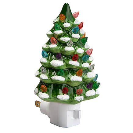 Green Snow-Capped Ceramic Tree Night Light-363938