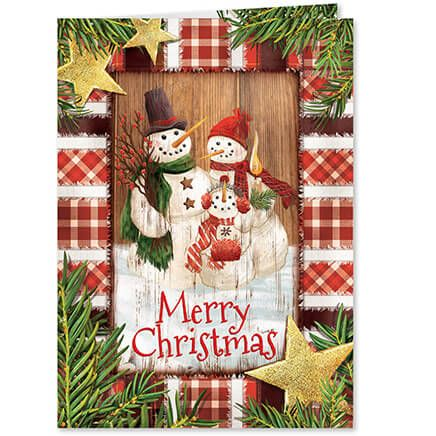 Calico Snowman Christmas Card Set of 20-364035