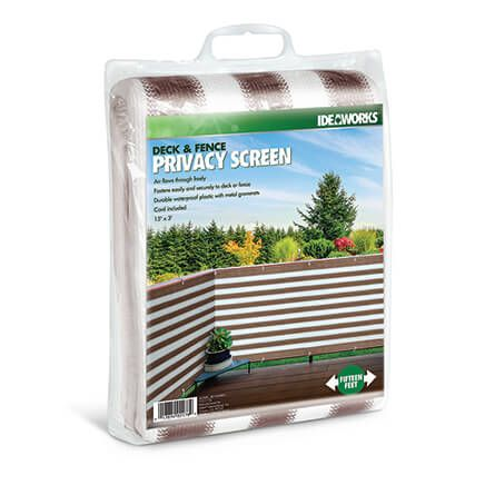 Brown/White Striped Deck Privacy Screen-364576