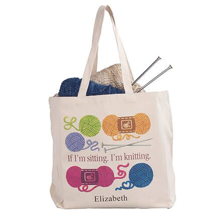 Personalized If I'm Sitting, I'm Knitting Tote-364947