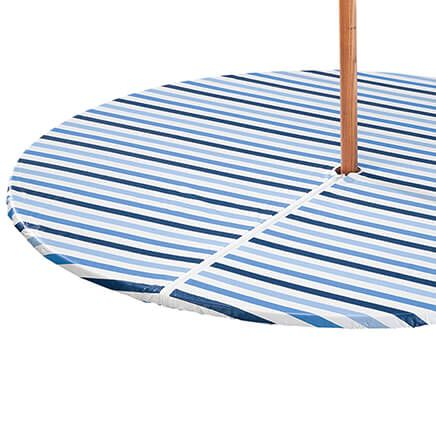 Blue Stripe Vinyl Zippered Elasticized Tablecover by Home-Style Kitchen™-367201