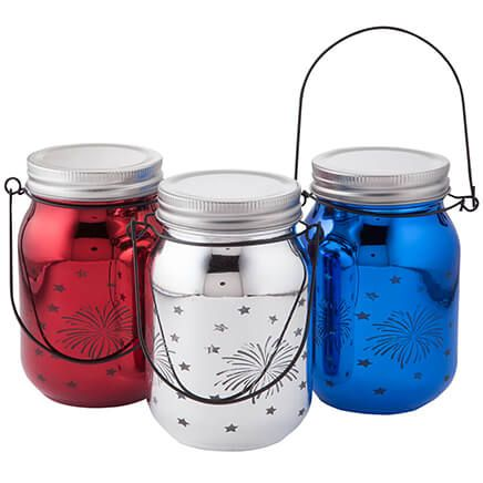 Red, White & Blue Fairy Light Firework Jars, Set of 3-367355