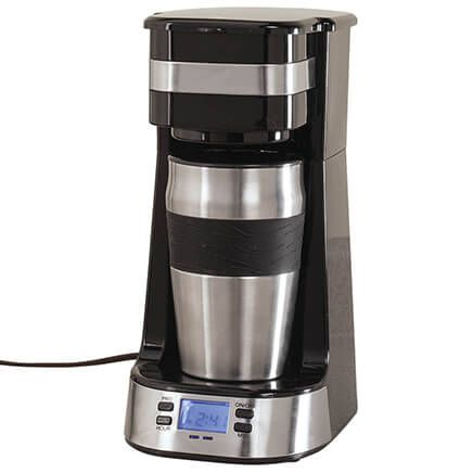 Programmable Single Cup Coffee Maker with Travel Cup-367508