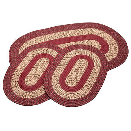 Burgundy 3-pc. Two-Tone Braided Rug Set by OakRidge™-367533