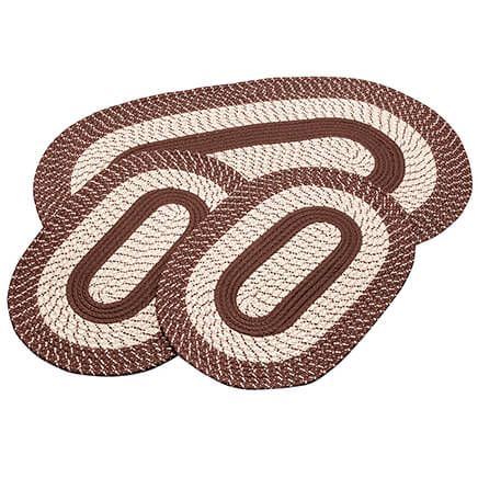 Chocolate 3-Piece Two-Tone Braided Rug Set by OakRidge™-367534