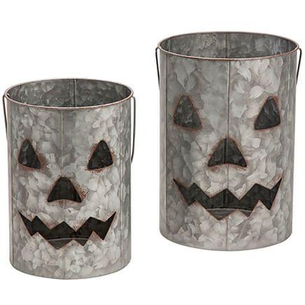 Galvanized Metal Jack-O-Lanterns, Set of 2-368112