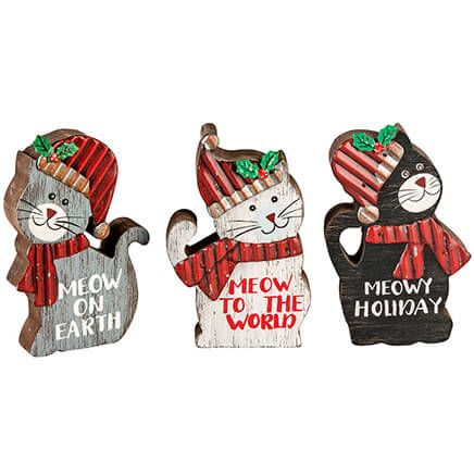 Christmas Cat Wood Table Sitters, Set of 3-368199