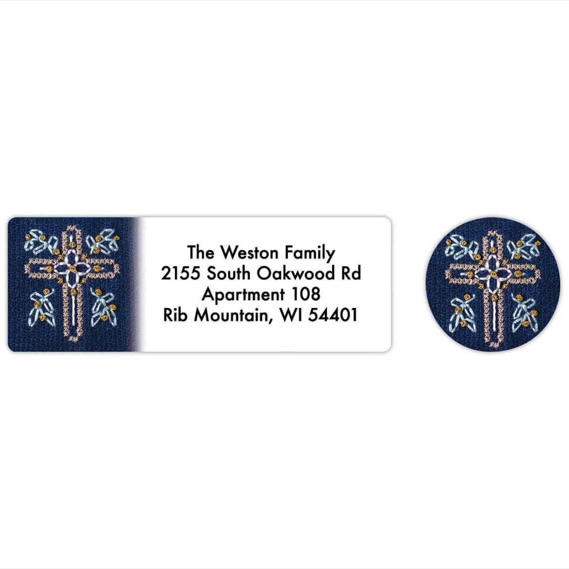Personalized Cross Stitch Cross Labels & Envelope Seals 20-368279