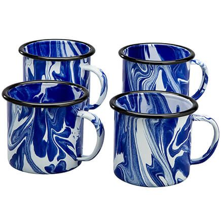Blue Marble Enamelware Mugs, Set of 4 by Home Marketplace-368311