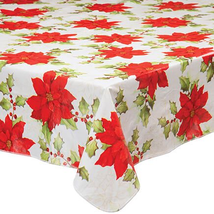 Poinsettia Vinyl Table Cover-368335