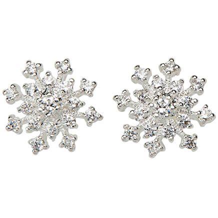 CZ Snowflake Post Earrings-368485