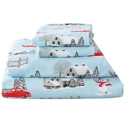 Red Truck Christmas Flannel Sheet Set by Oakridge™-368681