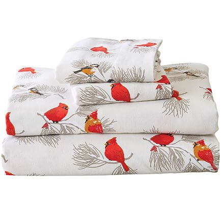 Cardinal and Chickadee Flannel Sheet Set by OakRidge™-368682