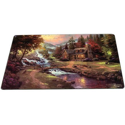 Thomas Kinkade Cabin Scene Glass Cutting Board-368688