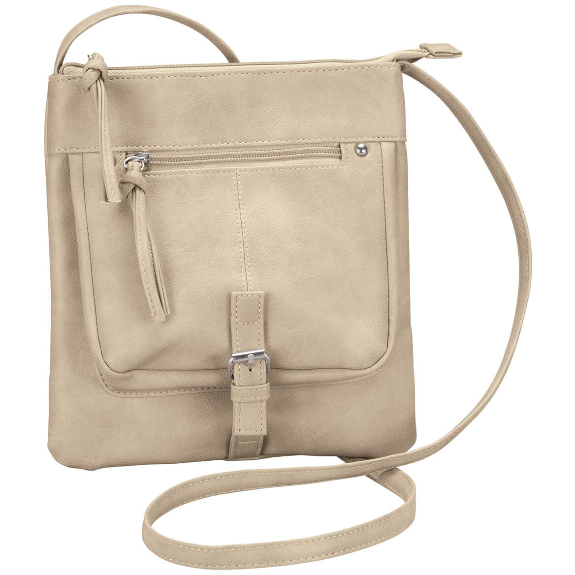 Wash Textured PU Crossbody Purse with Buckle-368925