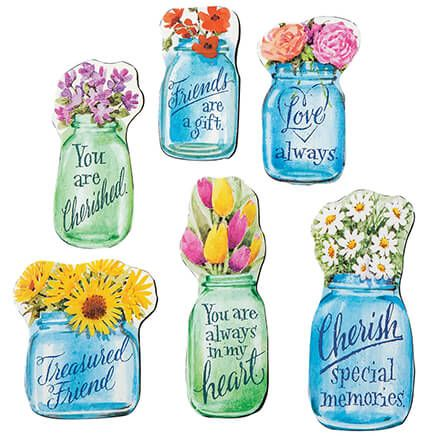 Floral Mason Jar Magnets, Set of 6-369288