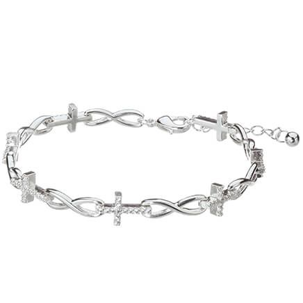 Sterling Silver Infinity and Cross Bracelet-369319