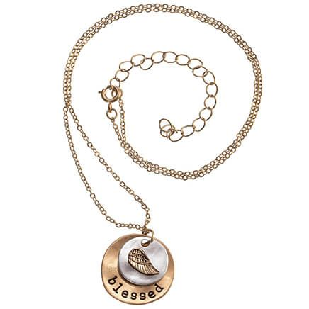 Blessed Brushed Gold Necklace-369527