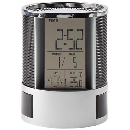 Digital Desk Pen Pencil Holder with Alarm Clock-369573