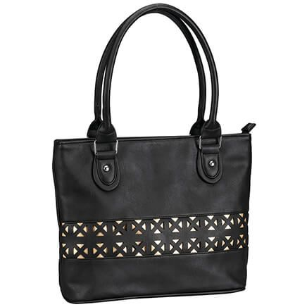 Laser Cut Shoulder Handbag-369658