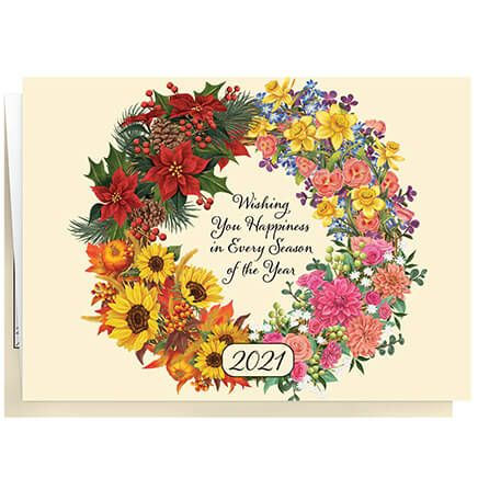 Personalized Four Seasons Wreath Christmas Card set of 20-370191